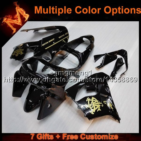 23colors+8Gifts BLACK motorcycle cowl for Kawasaki ZX9R 1998-1999 ABS Plastic Fairing ZX 9R 98 99