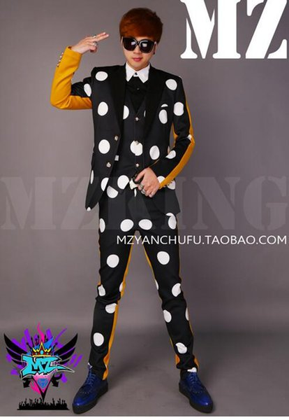 A male singer fashionable nightclub runway looks black and white and yellow stitching 7 minutes of pants suit costumes. S - 6 xl