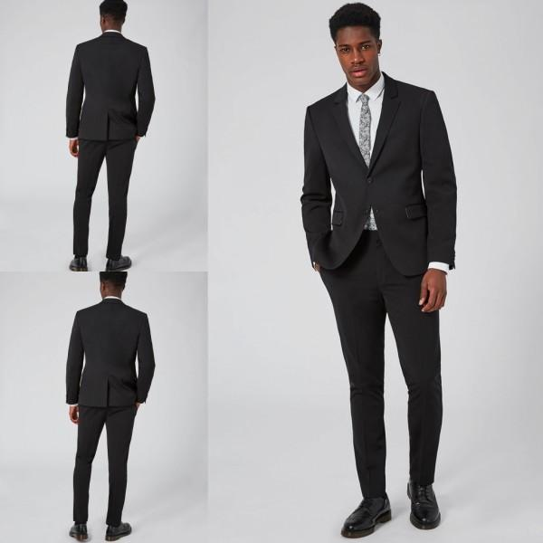Two Pieces Black Men Suits Weddings High Quality Custom Made ...