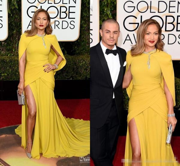 O 73º Globo de Ouro Prêmios Vestidos de Celebridades 2018 Sereia Amarela Dividir Lado Vestidos de Noite Xale Pescoço Vermelho tapete Vestido Formal Mais Novo