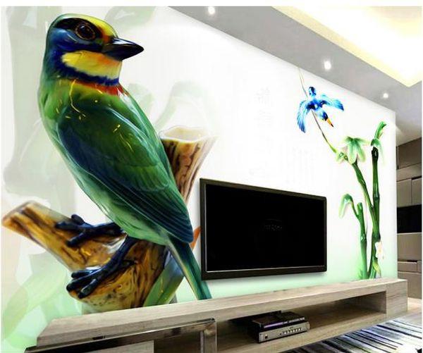 Wall paper Bamboo Bird relief wallpaper mural wall stickers wallpaper papel de parede wallpapers20154414