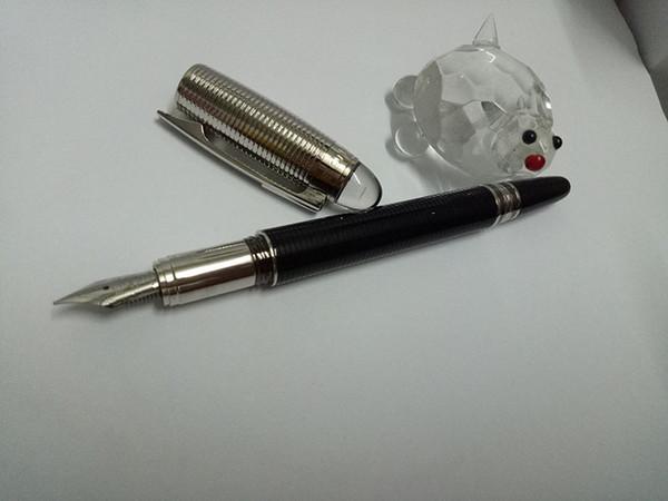 Prix de gros de luxe Classi Design haut argent vers le bas corps noir avec tête en cristal Founatain Pen pour le meilleur cadeau fournitures scolaires de bureau