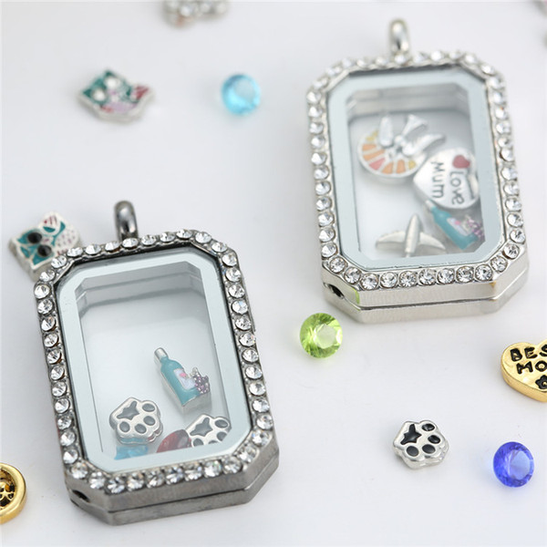 Fashion Rectangle glass locket pendants Necklaces Memory living lockets magnetic floating charm locket with Rhinestone crystals