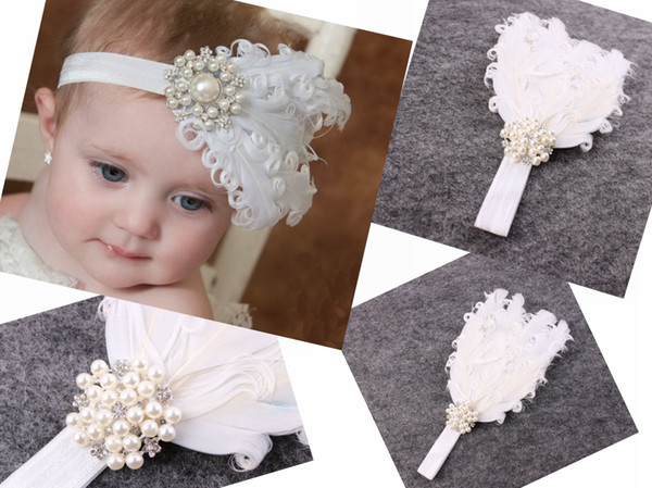 1pc baby White curled feathers soft elastic Headband Pearl Rhinestone for Girl Hair Accessories Newborn Baptism Hairband Photo Prop YM6112