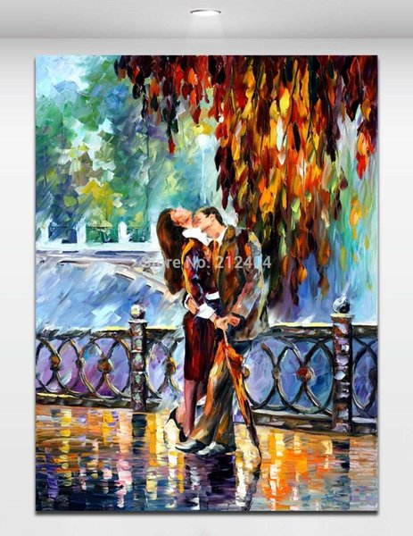 Sexy Kiss on Bridge Lover Date Picture Palette Knite Oil Painting Canvas Prints Mural Art Home Office Cafe Wall Decor