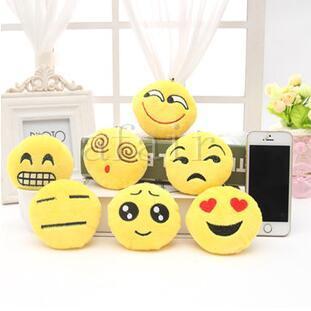 2016 QQ Expressão Chaveiro 5 cm 8 cm Emoji Smiley Pequeno chaveiro Emoção Amarelo Rodada De Pelúcia boneca de brinquedo chave fivela pingentes