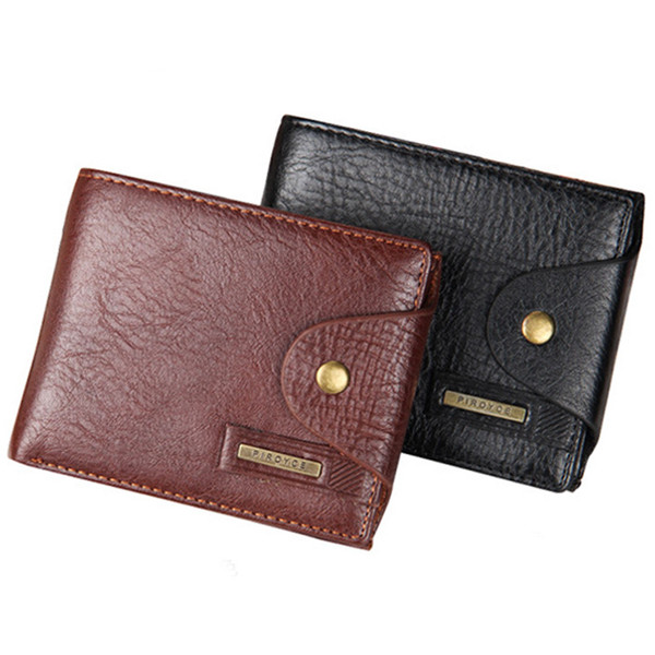 Hot Sale Quality Hasp Style Men Wallets Cross Vertical PU With Leather Coin Pocket Black Brown Credit Card Holder Purse Wallet Free Shipping