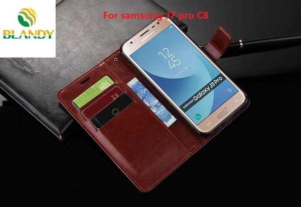 Для samsung galaxy C8 сумасшедший конь кошелек кожаный чехол PU телефон чехол для samsung J7 pro