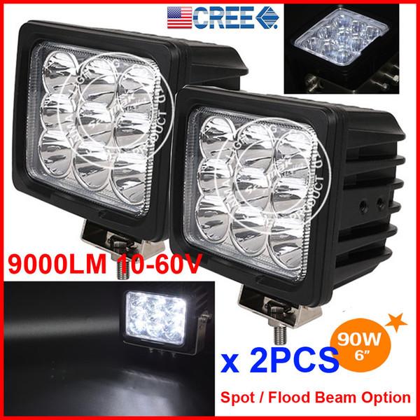 "DHL 2PCS 6"" 90W 9LED*10W CREE LED Driving Work Light Square Offroad SUV ATV 4WD 4x4 Spot / Flood Beam 10-60V 9000lm Truck Head SUPER Bright"