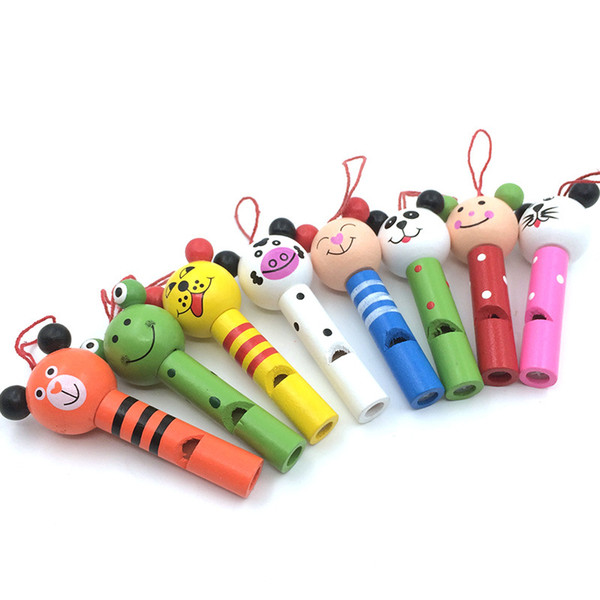 Baby Kids Cartoon Animal Whistle Party Noise Maker Children Wooden Toys Wholesale DHL & FEDEX Free Shipping