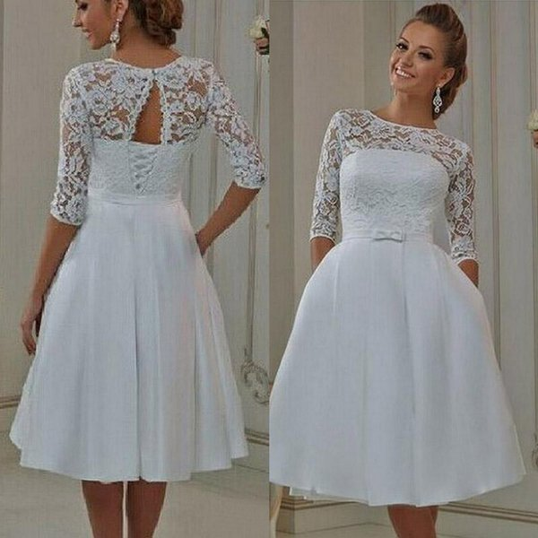 Discount Vintage Lace Short Wedding Dresses With Pockets Half ...