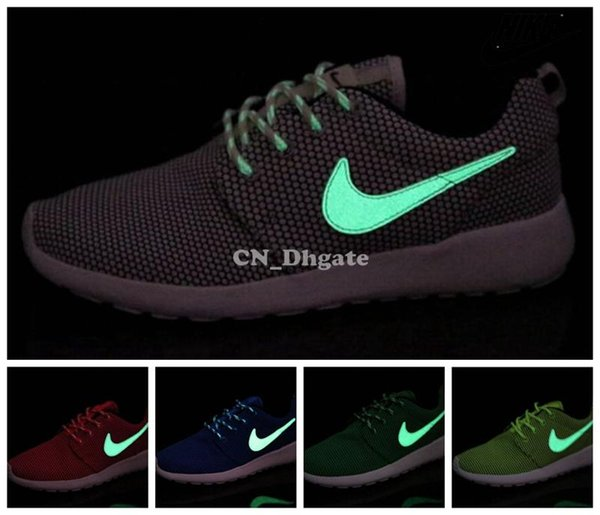 reputable site 40372 ae644 Nike Roshe Run Grey Pink Red Blue Orange Glow In The Dark Swoosh Men Women  Running