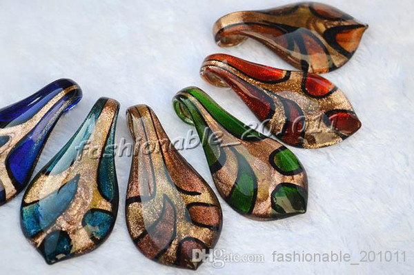 Gold Sand Leaf Multi-Color Lampwork Murano Glass Pendant necklaces #pdt115