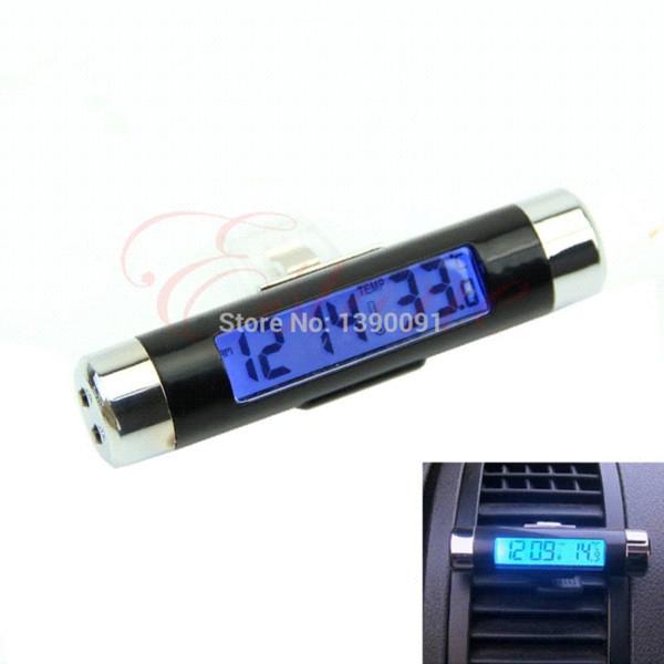 J117Envío gratuito 1pc Nuevo 2in1 Auto LCD auto con clip Retroiluminación digital Termómetro automotriz Reloj M16580 bolsillos para termómetro