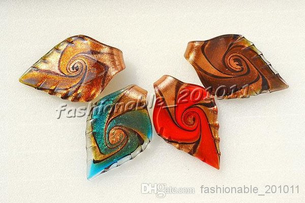 Leaf Gold Sand Multi-Color Lampwork Murano Glass Pendants Necklaces Wholesale Retail FREE #pdt41