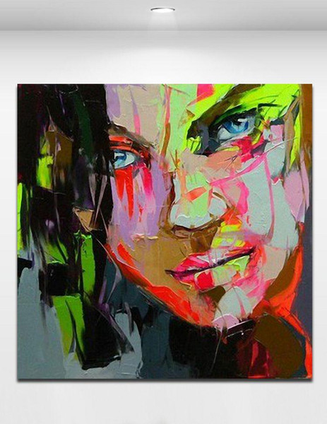 Cool Girl 100% Hand painted Oil Painting on Canvas Palette Knife Figure Picture Home Bar Wall Decor Mural Art