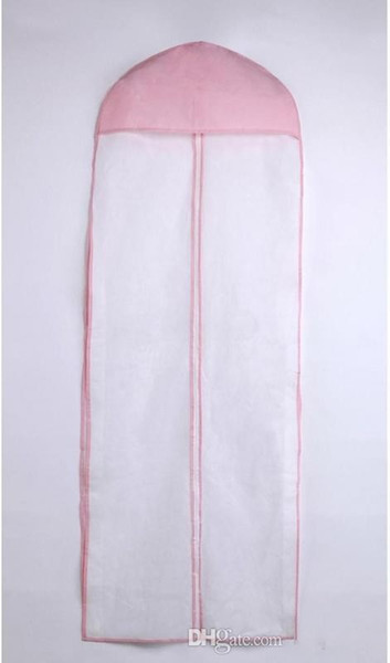 Free Shipping No Logo Wedding Dress Bag Garment Cover Travel Storage Dust Cover 155cm Long No Signage In Stock White Pink Wedding Accessory