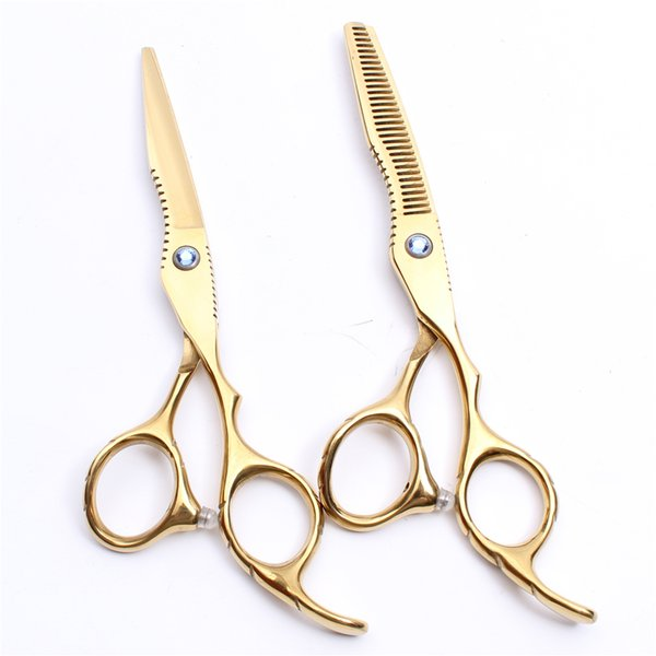 C1011 6Inch Japan Golden Customized Logo Professional Human Hair Scissors Barbers' Hairdressing Scissors Cutting Thinning Shears Style Tool