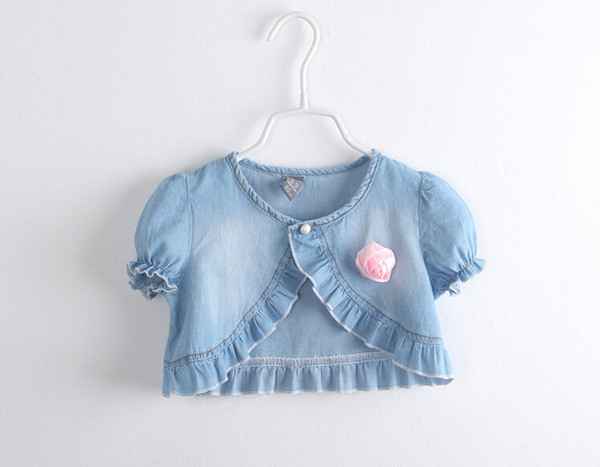 top popular 2015 Summer new Baby Casual Washed denim short Jackets Girls Cute rose Tops short sleeve shawl children clothing 2021