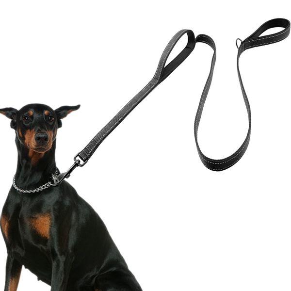 Hundeleine 2 Griffe Schwarz Nylon Gepolsterte Doppelgriff Leine Für Größere Kontrolle Sicherheitstraining Schützen Hund Im Verkehr