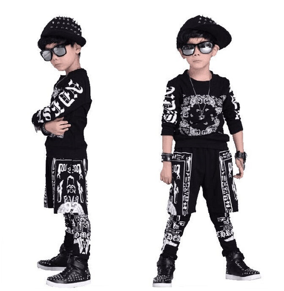 Tops+Pants Boy Girl Clothing Girls Clothes Set Baby Boys Tracksuit Kids Cloth 4 8 10 14 16 Years Children Dance Hip Hop Clothing