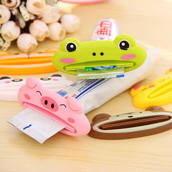 Wholesale- OnnPnnQ 1pc Cute Cartoon Frog/Animal Toothpaste Tube Squeezer Easy Squeeze Paste Dispenser Roll Holder Free Shipping