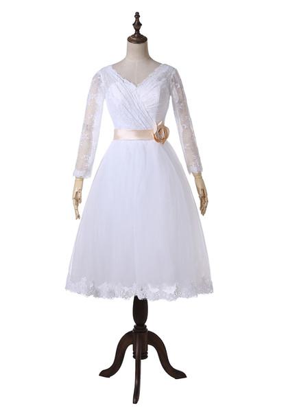 Vintage Short Wedding Dresses 2019 V-Neck Long Sleeve Flower Belt Lace Tea Length Bridal Gowns Zipper Back Custom Made W1009