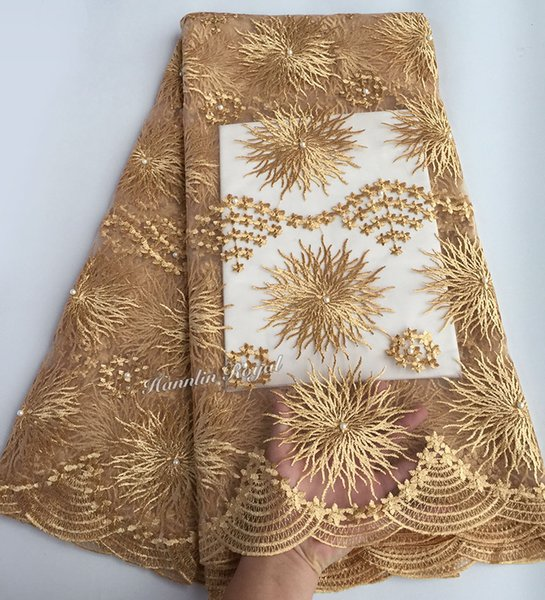 top popular Plain gold 5 yards African French Fabric Embroidery tulle Lace fabric With stones beads 5 yards per piece 2019