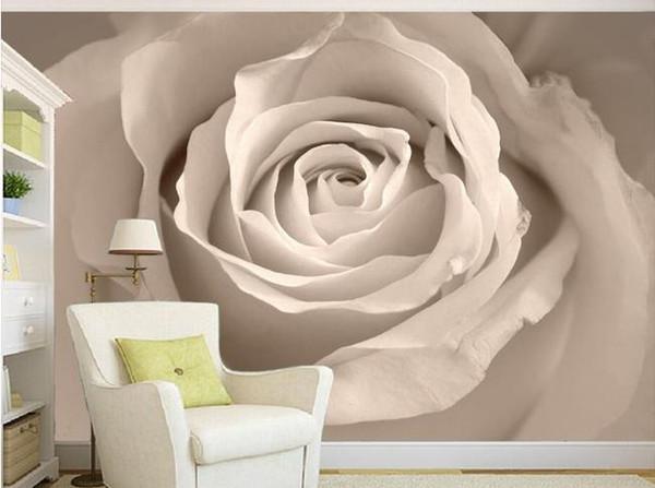 3d wallpaper European minimalist bedroom living room TV backdrop White roses 3D stripes abstract mural wallpaper 20157408