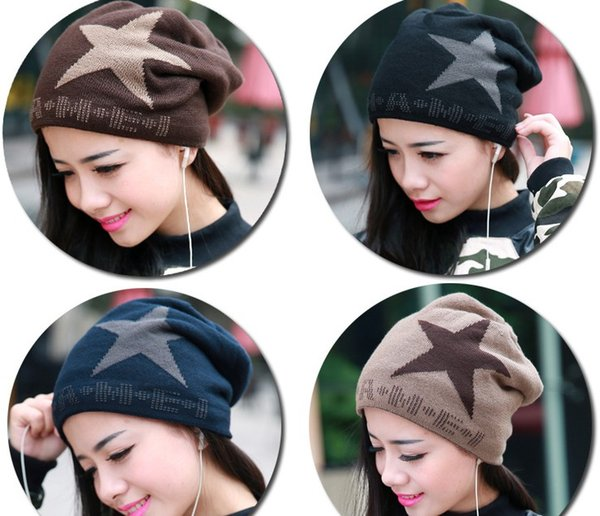 DHL free shipping High Quality Woolen Knitted Hat Korean new double with velvet five-pointed star knit hat Winter Warm Hats For women