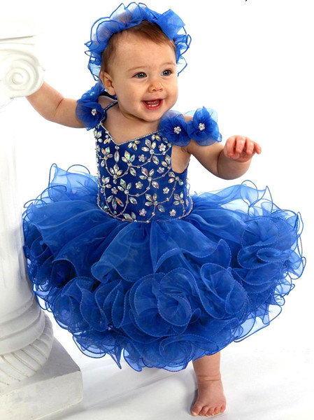 Royal Blue cute cupcake toddler girls pageant dresses organza crystals beaded backless mini short infant flower girls party gowns BA2224