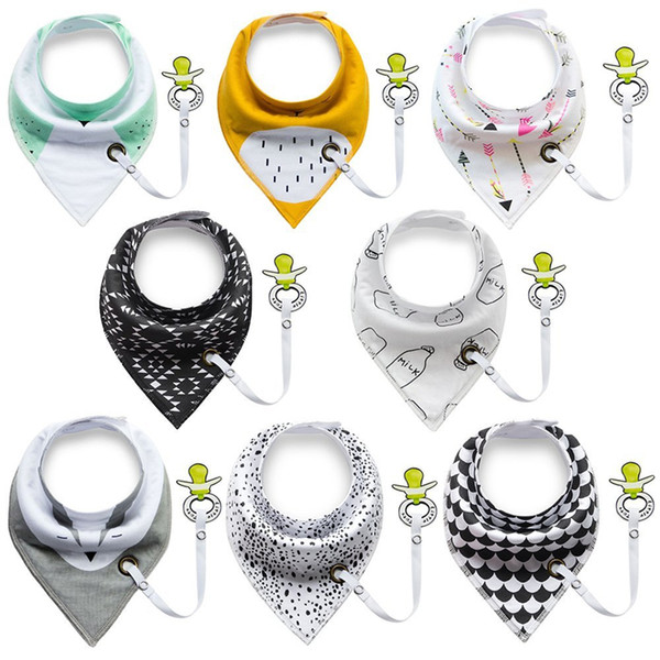 Multi Style Cartoon INS Bibs With Clip Burp Cloths Newborn KIDS 100% Cotton Double Layers Animal Print Triangular Bib With YKK Snap Fastener