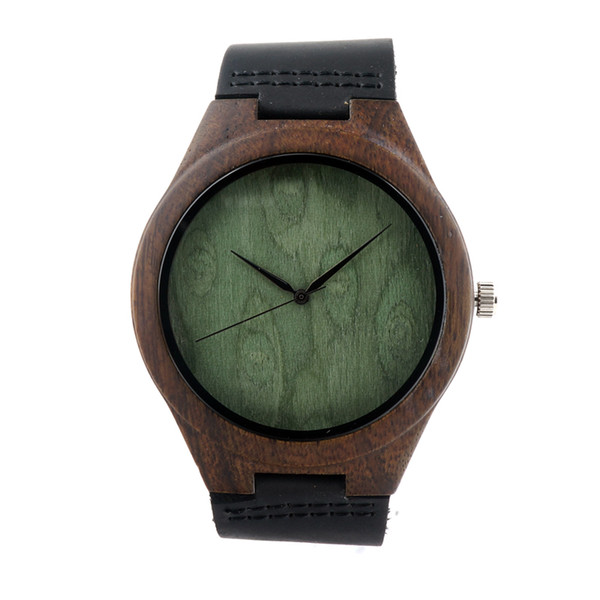 Newest Ebony Wooden Watch japanese miyota 2035 movement casual wristwatches genuine leather wood watches for men women