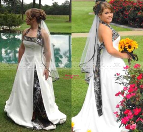 2017 Primavera Camo Vestidos de Casamento Nova Moda Branco Halter Andar de Comprimento Sem Encosto Jardim Plus Size Informal Praia Vestidos de Casamento BO7571