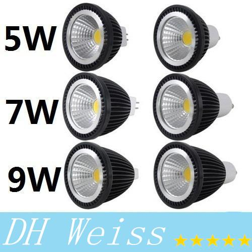 Dimmable 5W GU10 E27 E26 MR16 Led COB bulbs light warm/pure/cool white energy saving led spotlights 120 angle 85-265V