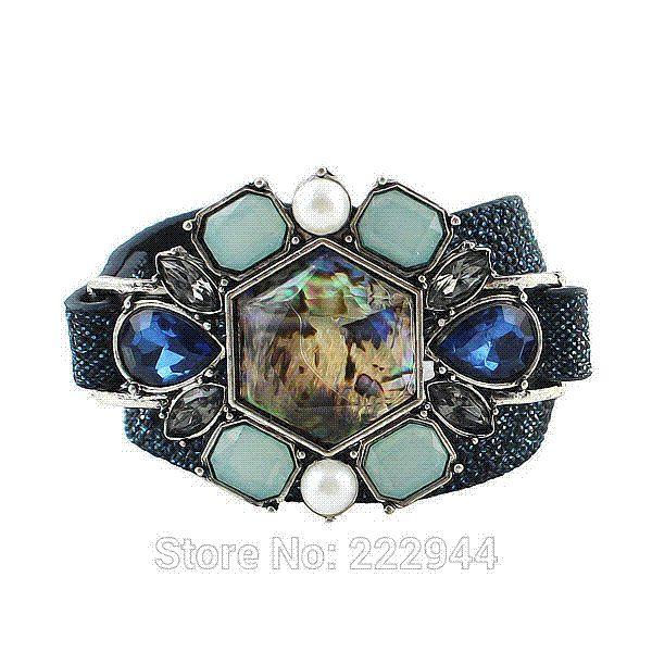 Wristband Blue Color Imitation Gemstone PU Leather Wrap Bracelet For Women Factory Price bracelet cooper leather bracelet with watch