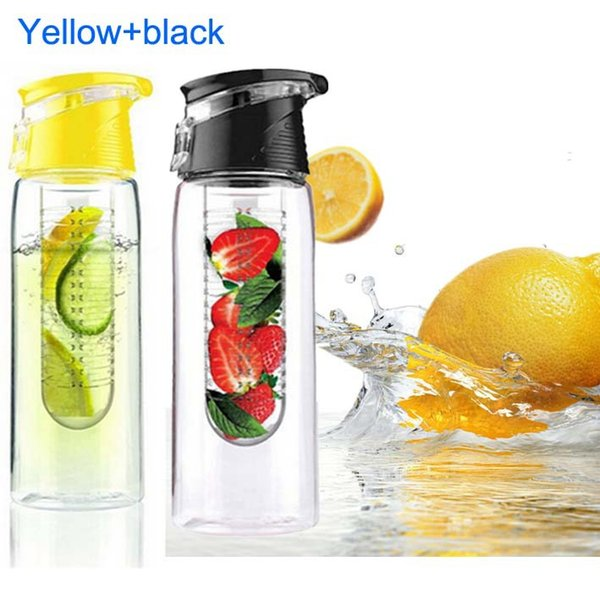 2 Pcs 800ml Cycling Fruit Infusing Water Lemon Cup Juice Bike Home Health Bottle Flip Lid with Box