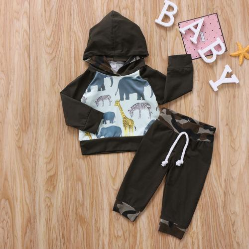 Animals Toddler Hoodie Baby Kid Boys Clothes Tops T-shirt Camouflage Pants Outfits 2PCS Set Newborn Baby Cotton Clothing