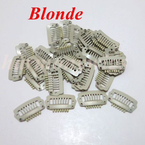 best selling Hair extension snap clips 2.3cm 7 teeth stainless steel for Clip hair extensions wigs weft 6colors