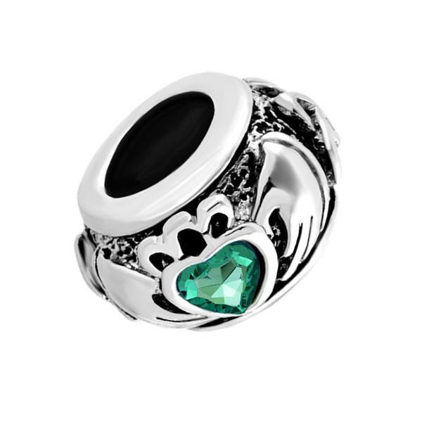 Metal Slider Spacer green birthstone Irish Claddagh Friendship and Love Heart European Bead Fit Pandora Chamilia Biagi Charm Bracelet