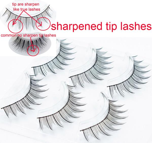 3 pairs in a tray sharpen tip eyelashes sharpened by hand handmade cross 3 pairs of false eyelashes