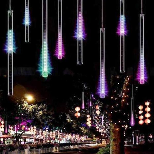 Luces de lluvia de lluvia de meteoros LED, gota de hielo carámbano caída de lluvia gota de lluvia 30 cm 8 tubos luces en cascada a prueba de agua para bodas de Navidad decoración para el hogar LLFA