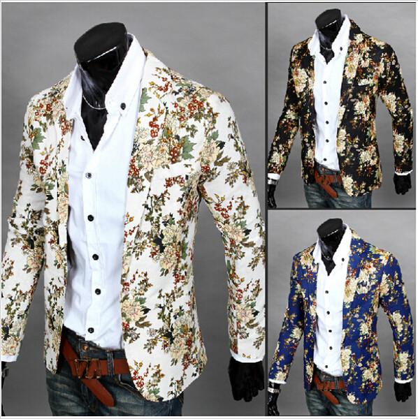 3 renk M-XXL erkekler blazer slim fit 2014 erkekler suit Pamuk ve keten çiçek bez renk eşleştirme eğlence ceket suit erkekler