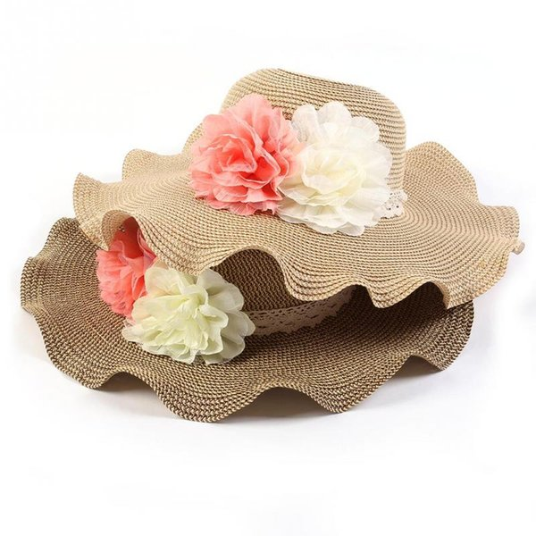 b627af2e Wholesale-New Fashion Women Foldable Straw Sunhat Flower Rolled Brim Summer  Beach Floppy Cap Leisure