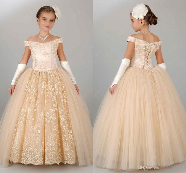 best selling Pageant Dresses For Girls Teens Off Shoulder Appliques Lace Princess Flower Girl Dresses Gowns Children Lace Up Birthday Dress girl gown