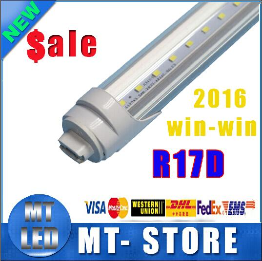 CE ROHS UL Fast ship R17D t8 led tube light 8ft 45W 2.4m Fluorescent Lamp Rotating smd2835 192leds 4800lm 85-265V Frosted/Clear Cover tubes