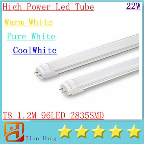 Integrated 1.2m 4ft 22W Led T8 Tube Lights SMD2835 96 Leds High Bright light 2400lm Frosted Transparent Cover 85-265V fluorescent lighting