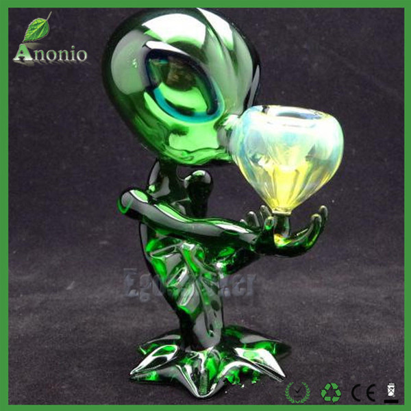 Alien Glass Pipes Glass Smoking Pipe Water Pipes 18cm Height Green G Spot Smoking Pipes Alien Glass Pipe Bong Water