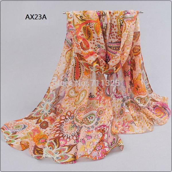 Sciarpa di seta all'ingrosso-chiffona Estate femminile avvolgere l'involucro di design lungo aria condizionata scialle di seta sciarpe AX23