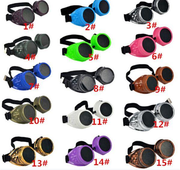 120pcs hot sale Vintage Punk Gothic Sunglasses Steampunk Goggles Glasses Welding Cyber Travelling Retro for man women D404